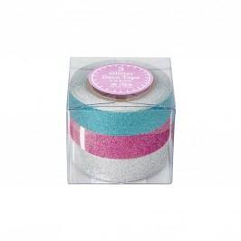 Designové samolepicí pásky Glitter - set 3 ks, růžová barva, zelená barva, stříbrná barva