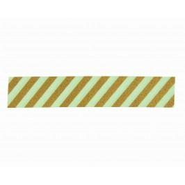 Designová samolepicí páska Stripe Pistachio/gold, zelená barva, zlatá barva, papír