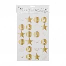 Vánoční nálepky Gold - 24 ks, zlatá barva, papír
