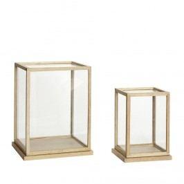 Prosklený box v dřevěném rámu Menší, hnědá barva, sklo, dřevo