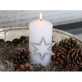Zapichovací ozdoba na svíčku Star, stříbrná barva, kov
