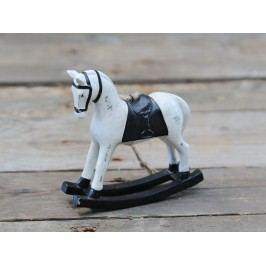 Dekorativní houpací koník Black, černá barva, krémová barva, dřevo