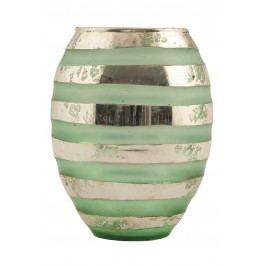 Skleněná váza Green Stripe, zelená barva, sklo