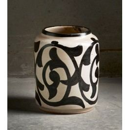 Keramická váza Marocco Black, černá barva, krémová barva, keramika