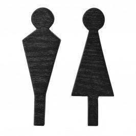 Dřevěný panáček na dveře WC Wood Black - dva druhy Holčička, černá barva, dřevo