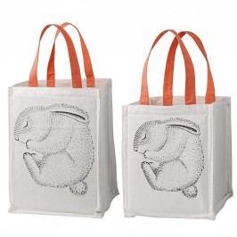 Úložný textilní box pro děti Rabbit Menší, oranžová barva, bílá barva, textil