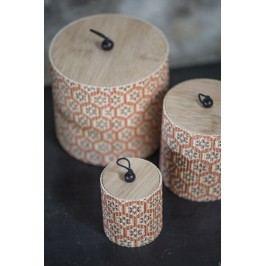 Kulatá bambusová krabička Flower - set 3 ks, oranžová barva, béžová barva, hnědá barva, dřevo, dřevotříska