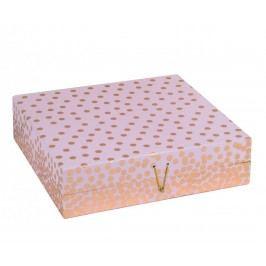 TRI-COASTAL DESIGN Papírová šperkovnice Copper Dot, růžová barva, měděná barva, papír