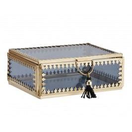 Skleněná krabička Orient Gold/black - větší, černá barva, zlatá barva, sklo, kov