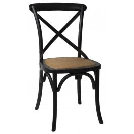 Dřevěná židle Provence Black, černá barva, dřevo, kov