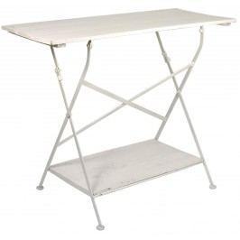 Dřevěný stolek s poličkou - bílý, bílá barva, dřevo