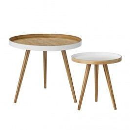 Bambusový stolek Bamboo round Menší, hnědá barva, dřevo