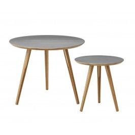 Bambusový konferenční stolek Grey Menší, šedá barva, hnědá barva, dřevo