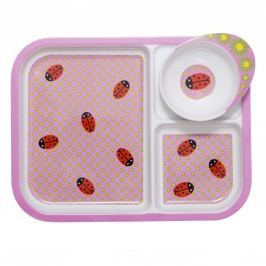 Melaminový talíř se 3 přihrádkami a miskou Ladybug, růžová barva, melamin