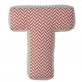 Dětský polštářek Checked ve tvaru písmene T, červená barva, oranžová barva, béžová barva, bílá barva, textil