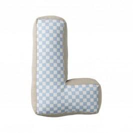 Dětský polštářek Checked ve tvaru písmene L, modrá barva, béžová barva, textil