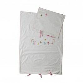 Dětské vyšívané povlečení 70x100 cm růžové, růžová barva, bílá barva, textil