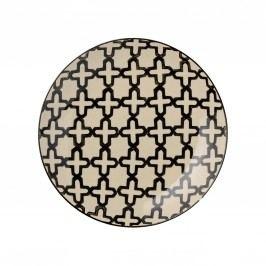Keramický talířek Cross, černá barva, krémová barva, keramika