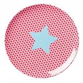 Melaminový talířek Girls star, červená barva, růžová barva, melamin