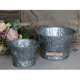 Zinkový kyblík Old French - větší, šedá barva, zinek