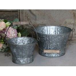Zinkový kyblík Old French - menší, šedá barva, zinek