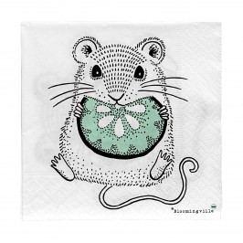 Papírové ubrousky Mouse, zelená barva, černá barva, bílá barva, papír
