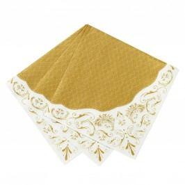 Papírové ubrousky Party Porcelain, bílá barva, zlatá barva, papír