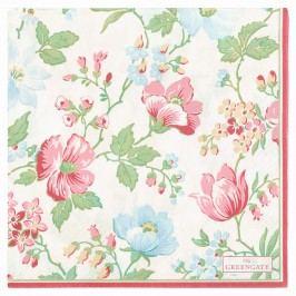 Papírové ubrousky Donna white - větší, růžová barva, zelená barva, multi barva, papír
