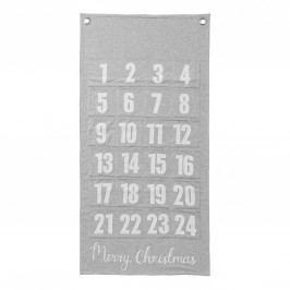 Textilní adventní kalendář, šedá barva, bílá barva, kov, textil