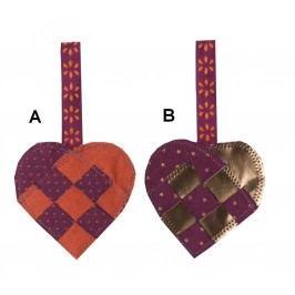 Dekorativní srdíčko Purple Typ A, fialová barva, textil