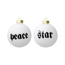 Vánoční baňka Peace/Star Peace, černá barva, čirá barva, sklo