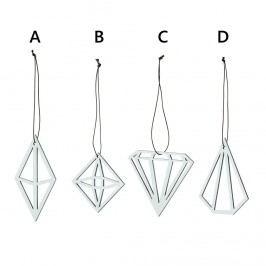 Závěsné geometrické ozdoby Diamond varianta A, černá barva, bílá barva, hnědá barva, dřevo