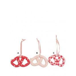 Látková dekorace Pretzel red 18cm A - puntík, červená barva, textil