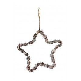 Dekorativní hvězda Cone, hnědá barva, dřevo