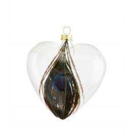 Vánoční ozdoba Heart Feather, zelená barva, čirá barva, sklo