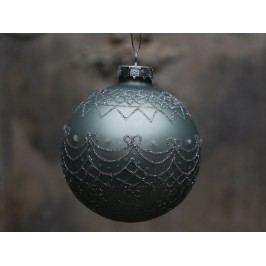Vánoční baňka Holiday Antique verte, zelená barva, šedá barva, stříbrná barva, sklo