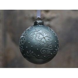 Vánoční baňka Matte pattern Antique verte, zelená barva, šedá barva, sklo