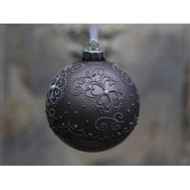 Vánoční baňka Matte pattern Antique mocca, šedá barva, hnědá barva, sklo
