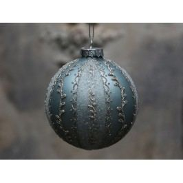 Vánoční baňka Glitter Antique verte, zelená barva, šedá barva, stříbrná barva, sklo