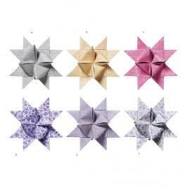Skládané hvězdy - 6 barev A - hnědá, multi barva, papír