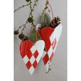 Dekorativní závěsný kornout Heart, červená barva, bílá barva, kov