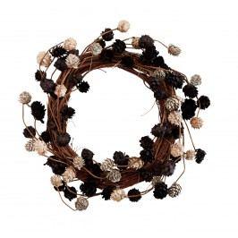 Věneček z borových šišek 35cm, hnědá barva, dřevo