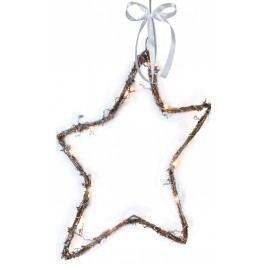 Svítící závěsná proutěná hvězda LED Star, hnědá barva, proutí