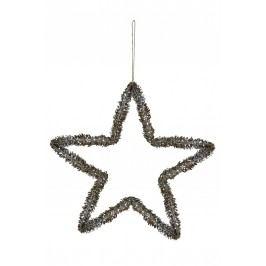 Dekorativní hvězda Shiny Pine Cone, hnědá barva, dřevo, kov