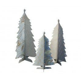 Papírový vánoční stromeček Blue - set 3 ks, modrá barva, zlatá barva, papír