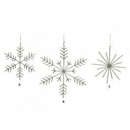 Dekorativní sněhová vločka z korálků Typ A, stříbrná barva, čirá barva, plast