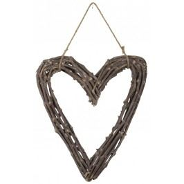 Dekorativní srdce z větviček - 45x50cm, hnědá barva, dřevo