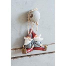 Vánoční trpaslík pro zavěšení Typ A, červená barva, šedá barva