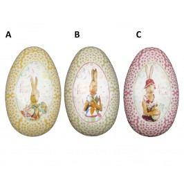 Plechová velikonoční vajíčka A - žluté, růžová barva, zelená barva, žlutá barva, kov