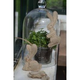 Dekorativní zajíček Rabbit Typ A, hnědá barva, textil